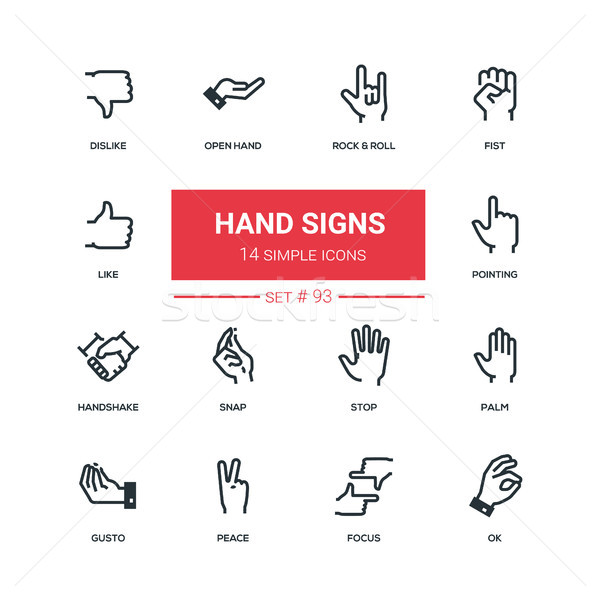 Hand signs - flat design style icons set Stock photo © Decorwithme