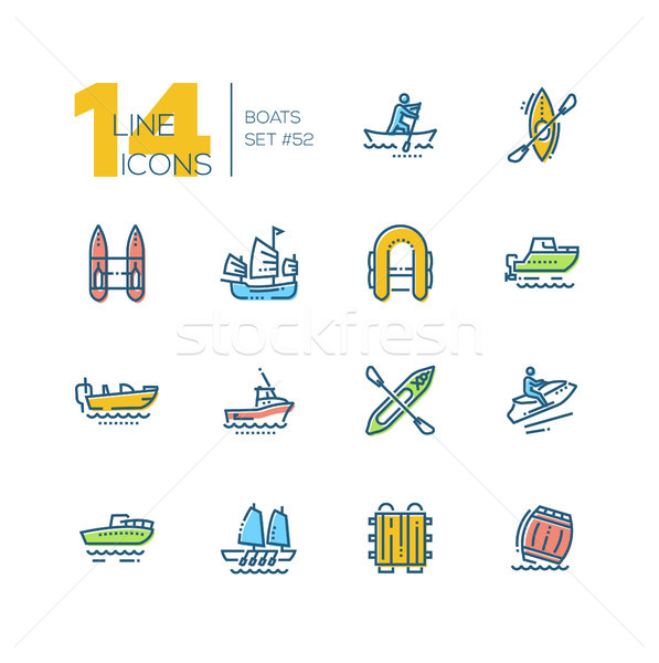 Boats - colorful thin line design icons set Stock photo © Decorwithme