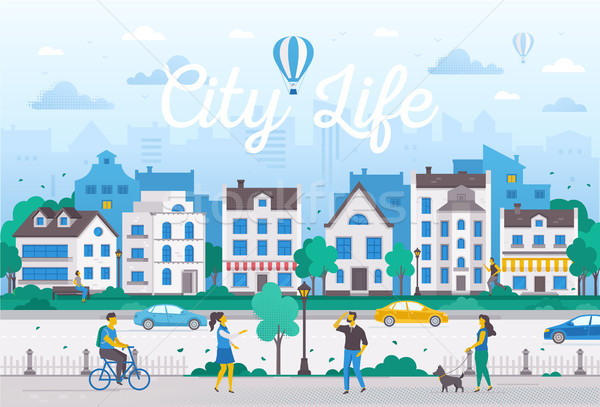 City life - modern flat design style vector illustration Stock photo © Decorwithme