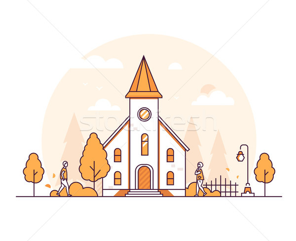 Small church - thin line design style vector illustration Stock photo © Decorwithme