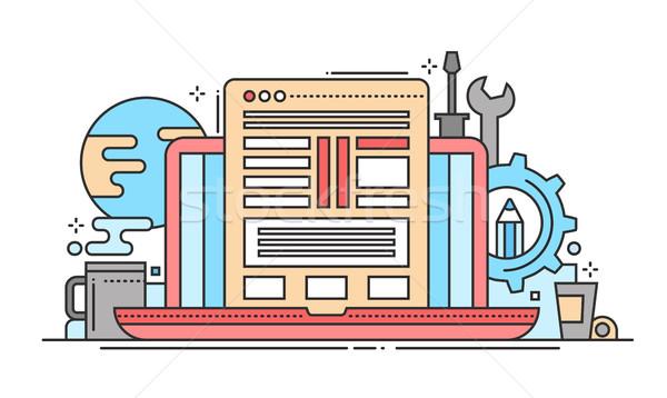 Programmazione strumenti line design sito banner Foto d'archivio © Decorwithme