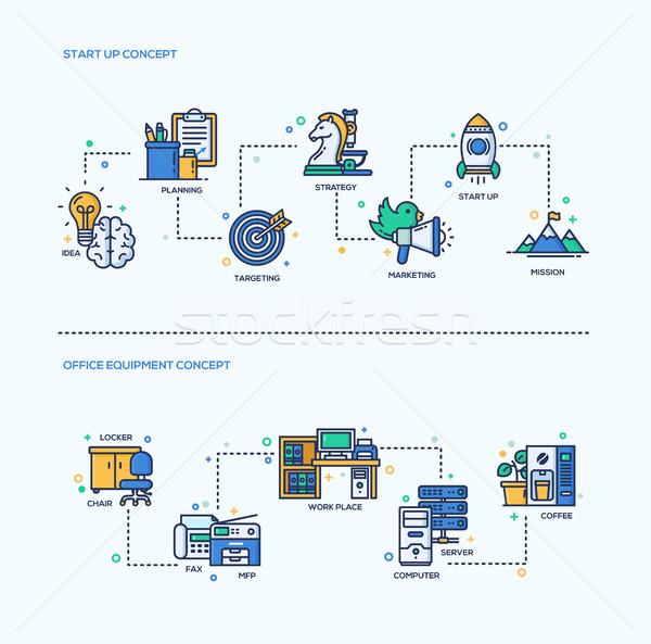 Começar para cima equipamentos de escritório negócio composições conjunto Foto stock © Decorwithme