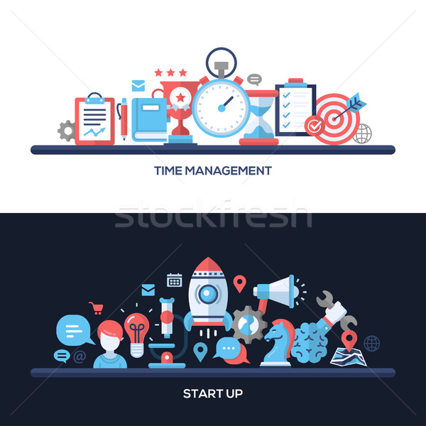 Time Management, Start Up Flat Design Concept Banners, Headers Set Stock photo © Decorwithme