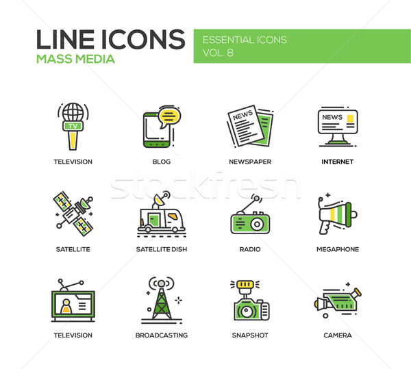 Stock photo: Mass Media line design icons set