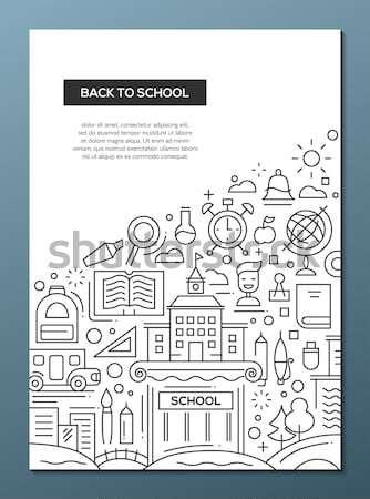 Eid Mubarak - line design brochure poster template A4 Stock photo © Decorwithme