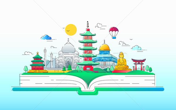 Asiático espírito vetor linha viajar ilustração Foto stock © Decorwithme