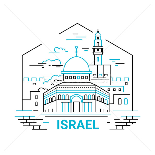 Israel - modern vector line travel illustration Stock photo © Decorwithme