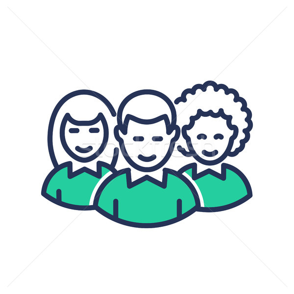 Volunteers - modern   vector line icon. Stock photo © Decorwithme