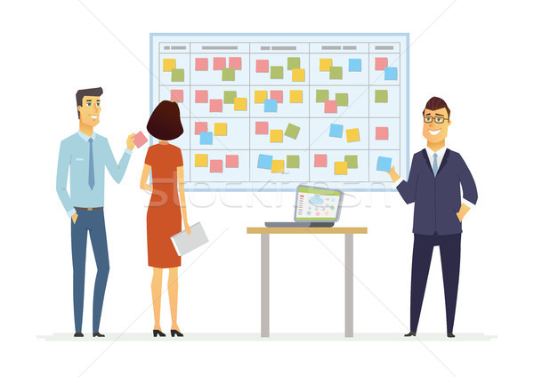 Office Kanban planning system - modern vector business cartoon characters illustration Stock photo © Decorwithme
