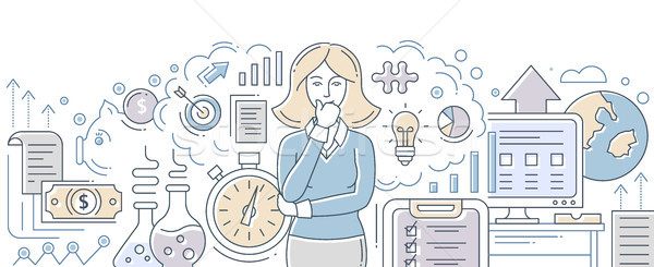 Business process management - modern flat design style isolated illustration Stock photo © Decorwithme