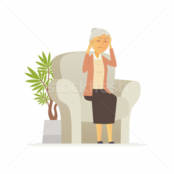 Senior woman with a headache - cartoon people characters isolated illustration Stock photo © Decorwithme