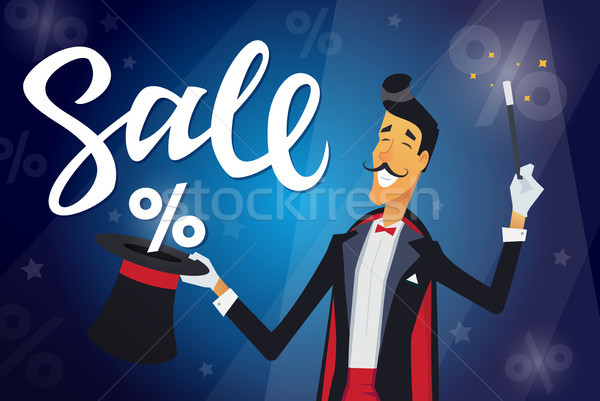 Sale - cartoon people characters illustration with calligraphy text Stock photo © Decorwithme