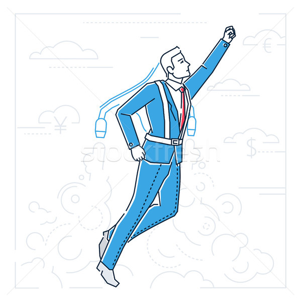 Businessman flying on a jet engine - line design style illustration Stock photo © Decorwithme