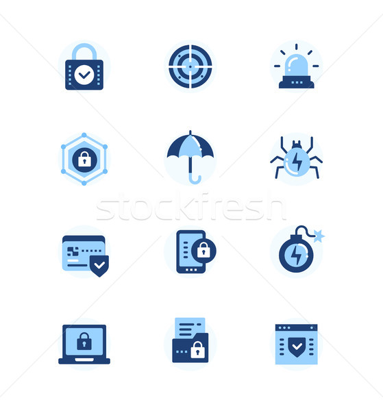 Stock photo: Information security, data protection - set of flat design style icons