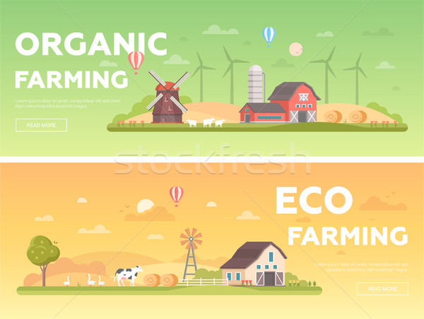 Organic farming - set of modern flat design style vector illustrations Stock photo © Decorwithme