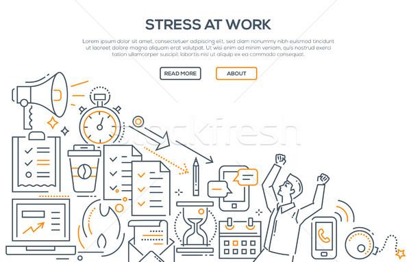 Stress at work - modern line design style illustration Stock photo © Decorwithme