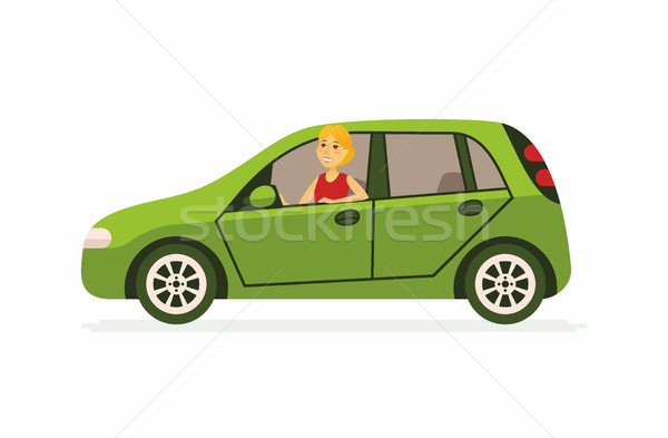 Young woman in a car - cartoon people character isolated illustration Stock photo © Decorwithme