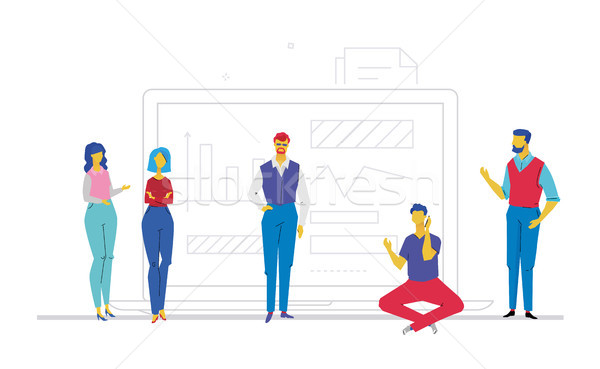 Business discussion - flat design style colorful illustration Stock photo © Decorwithme