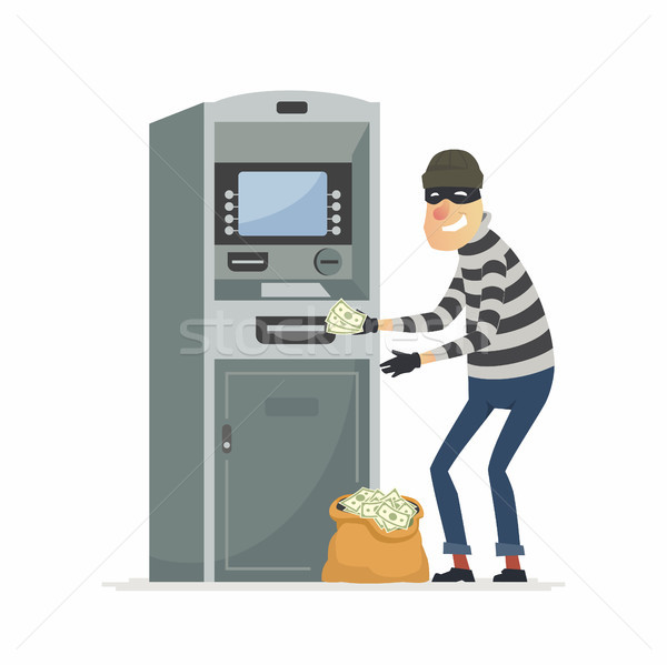 Thief stealing money from ATM- cartoon people characters illustration Stock photo © Decorwithme