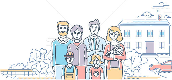 Family values - colorful line design style illustration Stock photo © Decorwithme