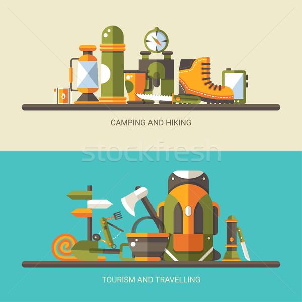 Nowoczesne projektu ilustracja kemping turystyka info Zdjęcia stock © Decorwithme