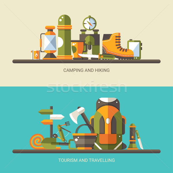 Modernes design illustration camping randonnée info Photo stock © Decorwithme
