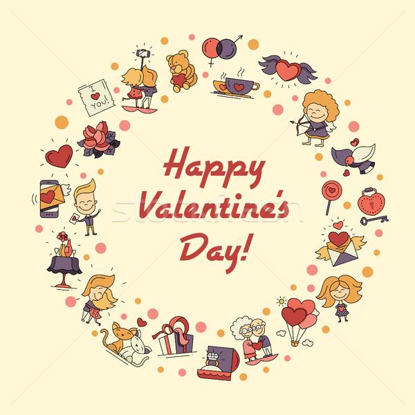 Stockfoto: Ontwerp · valentijnsdag · liefde · romantiek · iconen · briefkaart