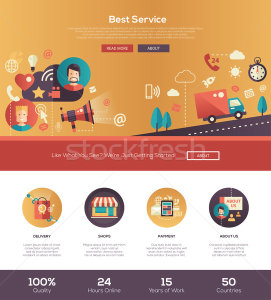 Flat design best service website header banner with webdesign elements Stock photo © Decorwithme
