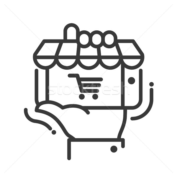 Online bolt ikon izolált modern vektor vonal Stock fotó © Decorwithme