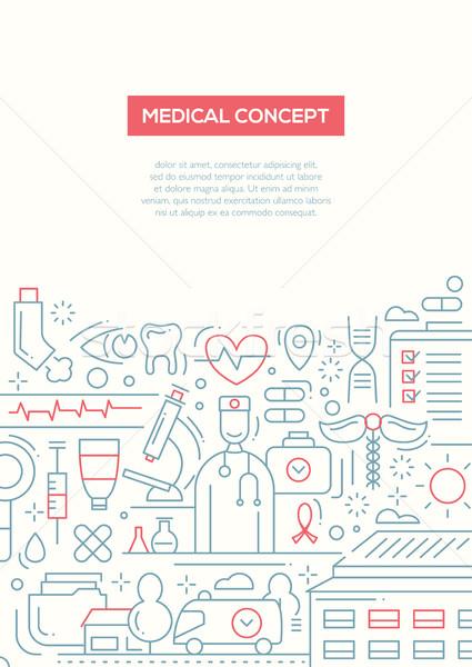 медицинской линия дизайна брошюра плакат шаблон Сток-фото © Decorwithme