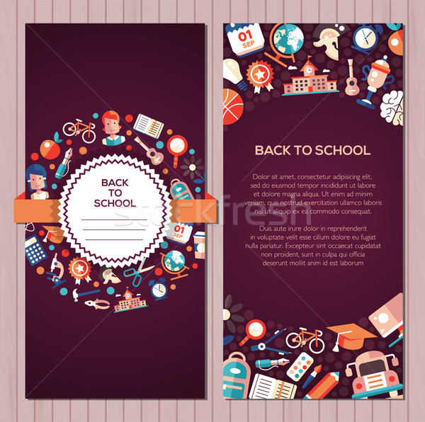 Back to school flat design icons postcard template Stock photo © Decorwithme