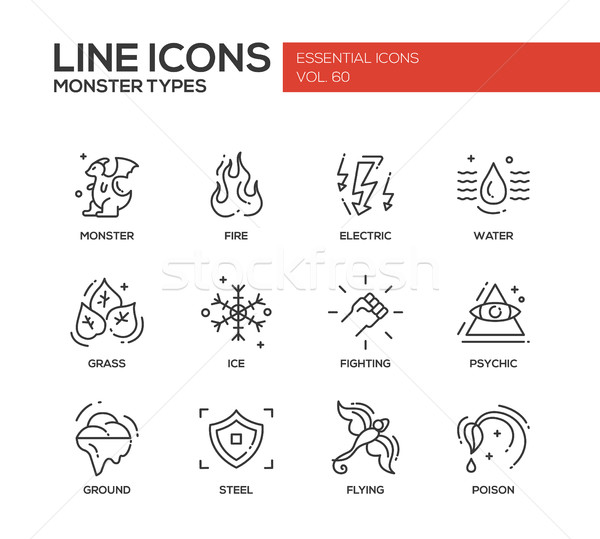 Monsters Types - line design icons set Stock photo © Decorwithme