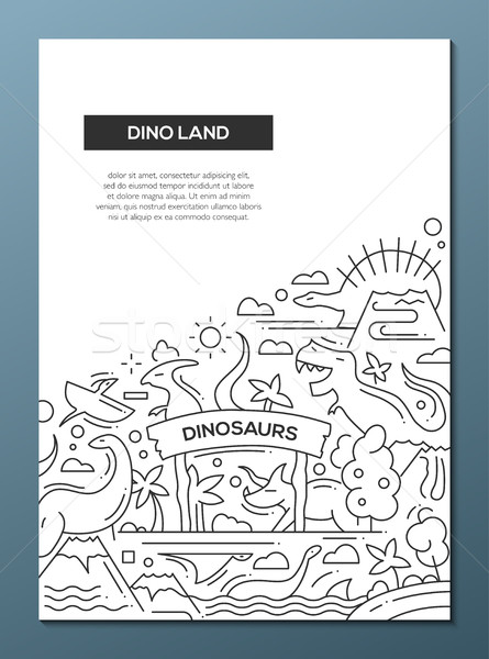Dinoland - line design brochure poster template A4 Stock photo © Decorwithme