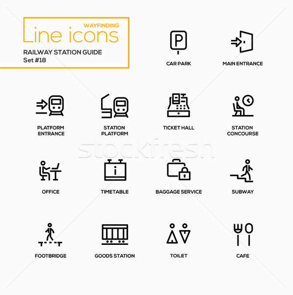 Railway Station Guide - modern vector single line icons set Stock photo © Decorwithme