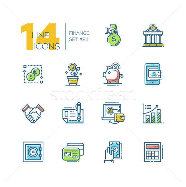 Stock photo: Finance - colored modern single line icons set