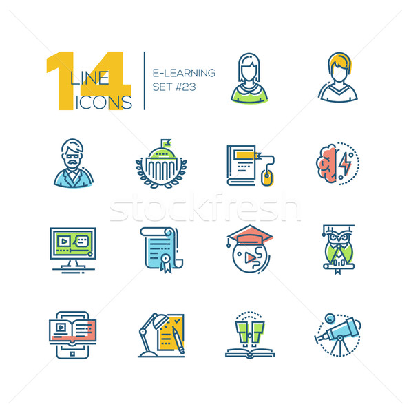 eLearning- colored modern single line icons set Stock photo © Decorwithme
