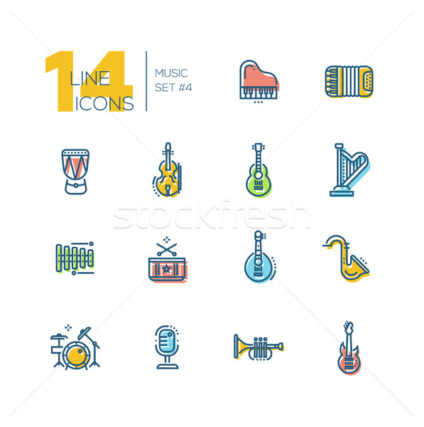 Stock photo: Musical Instruments - thick line icons set