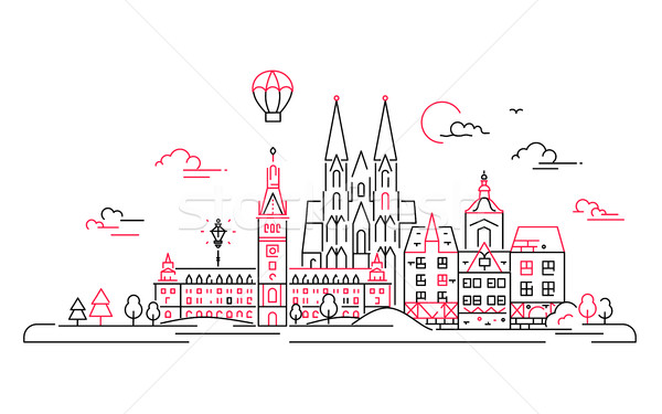 Stock photo: European countries - vector line travel illustration
