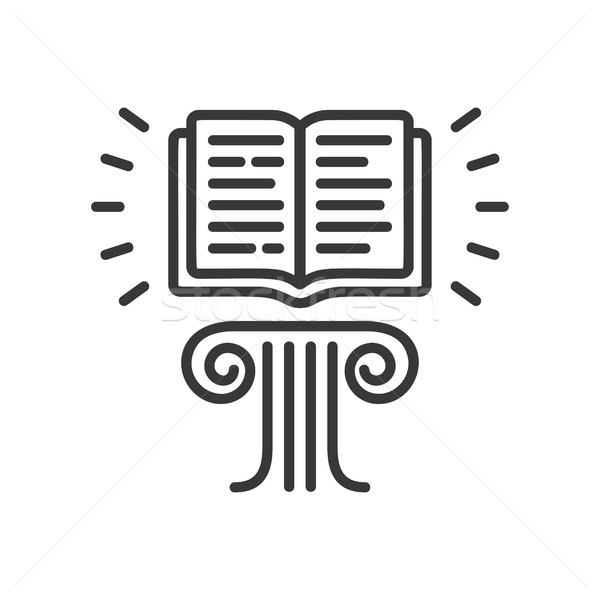 Flying Book - modern vector single line icon Stock photo © Decorwithme
