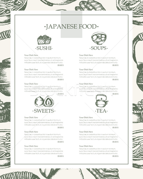 Japanese Food - vintage hand drawn template menu Stock photo © Decorwithme