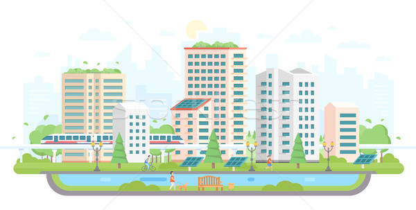 Cityscape with solar panels - modern flat design style vector illustration Stock photo © Decorwithme