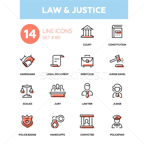 Stock photo: Law and justice - line design icons set