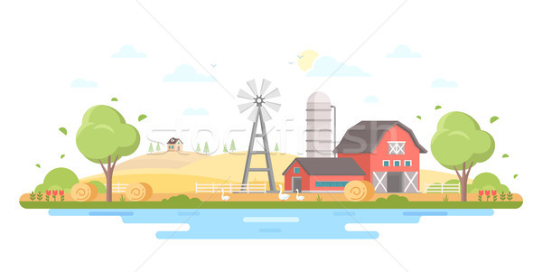 Country life - modern flat design style vector illustration Stock photo © Decorwithme