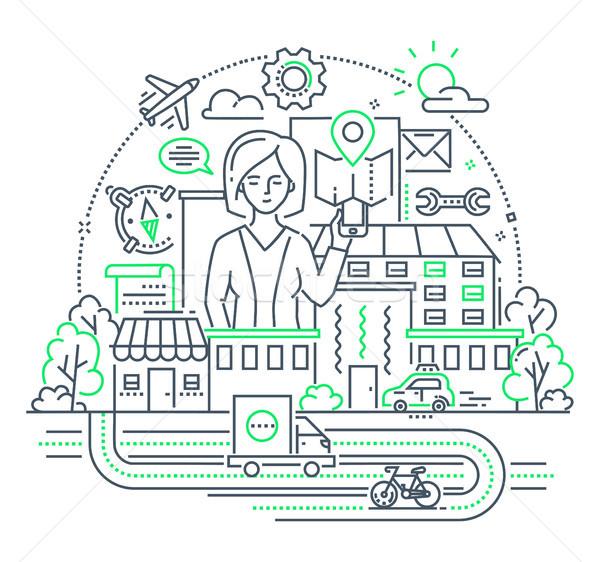 Businesswoman - modern line design style illustration Stock photo © Decorwithme