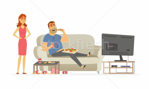 Wife angry with husband - cartoon people character isolated illustration Stock photo © Decorwithme