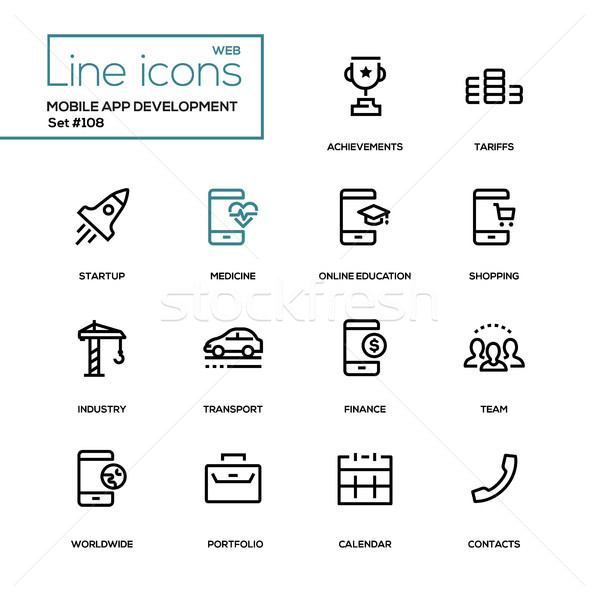 Stock photo: Mobile app development - modern line design icons set