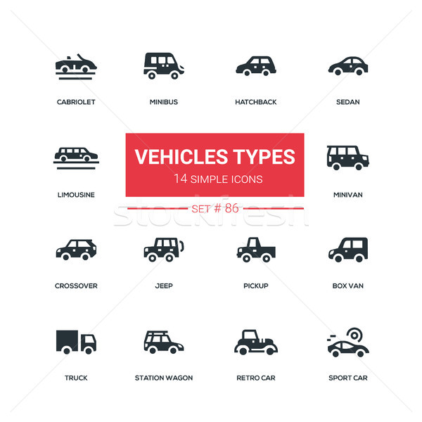 Vehicle types - flat design style icons set Stock photo © Decorwithme