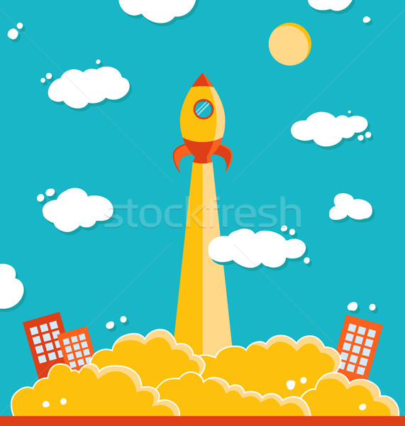 иллюстрация вектора ракета небе фон искусства Сток-фото © Decorwithme