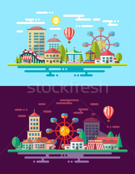 Moderne ontwerp stad illustratie vector boom Stockfoto © Decorwithme