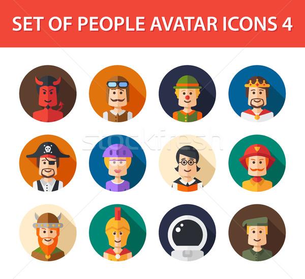 Conjunto isolado projeto pessoas ícone social Foto stock © Decorwithme